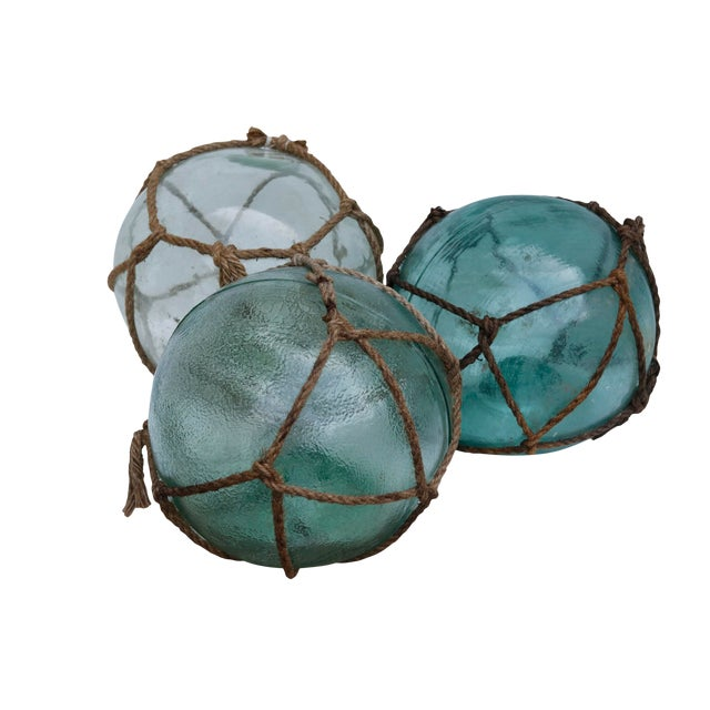 Large Hand Blown Glass Fishing Floats, Set of 3 For Sale