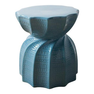 Twisted Blue Ceramic Stool For Sale