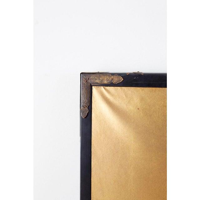 Japanese Six-Panel Meiji Screen of Egrets on Gold Leaf For Sale - Image 9 of 13