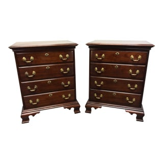 Statton Trutype Americana Cherry Chippendale Nightstands Bedside Chests - Pair