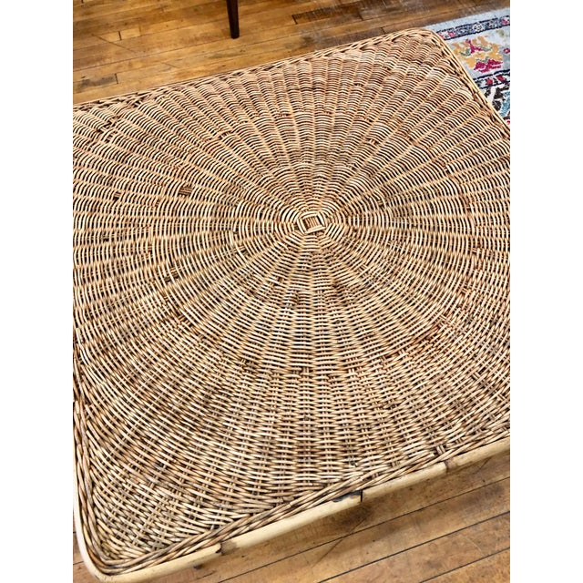 Mid Century Modern Wicker Coffee Table With Hairpin Legs For Sale - Image 4 of 6