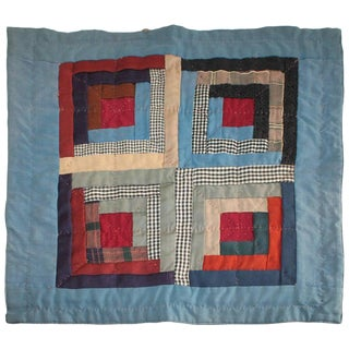 19th Century Amish Wool Doll Quilt Lancaster Co., Pennsylvania For Sale