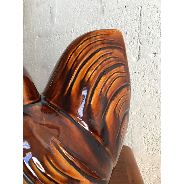 Brown Vintage Mid Century Ceramic Glaze Rooster Figurine For Sale - Image 8 of 9