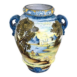 Italian Majolica Landscape Olive Oil Jar/ Jardinière For Sale