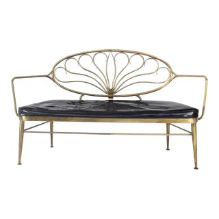 Early 20th Century Solid Brass Scallop Back Bench For Sale