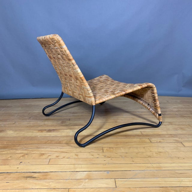 Metal Continental Woven Cane and Blackened Steel Lounge Chair For Sale - Image 7 of 12