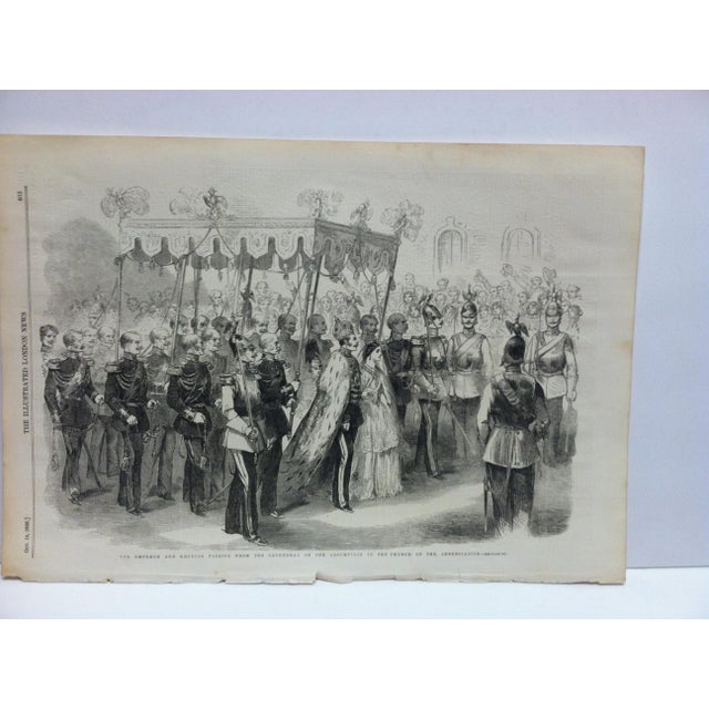 """This is an Antique Original Print from The Illustrated London News that is titled """"The Emperor and Empress Passing from..."""
