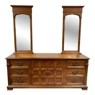 Mid 20th Century Drexel Guildhall Collection Nine Drawer Dresser + 2 Mirrors For Sale