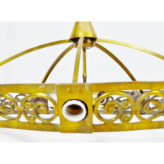 Art Deco Brass 8 Light Chandelier - Image 10 of 11