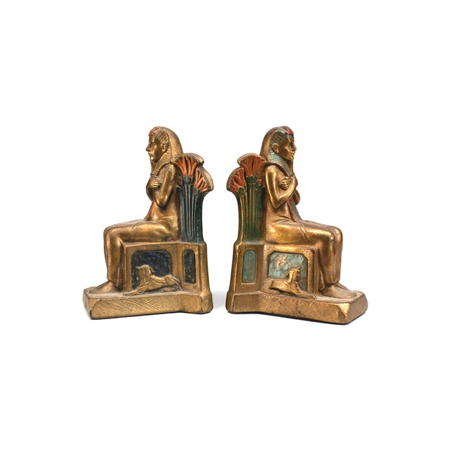 Early 20th Century Pair of Early 20th Century Czech, Egyptian Revival Seated Pharaoh Bookends For Sale - Image 5 of 5