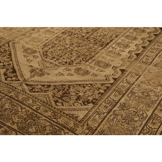 Contemporary Antique Persian Malayer Rug With Red & Brown Tribal Pattern on Ivory Field- 6′1″ × 13′6″ For Sale - Image 3 of 4