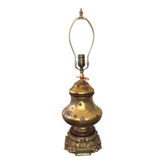 Vintage Eglomese French Art Glass & Gilt Bronze Table Lamp For Sale