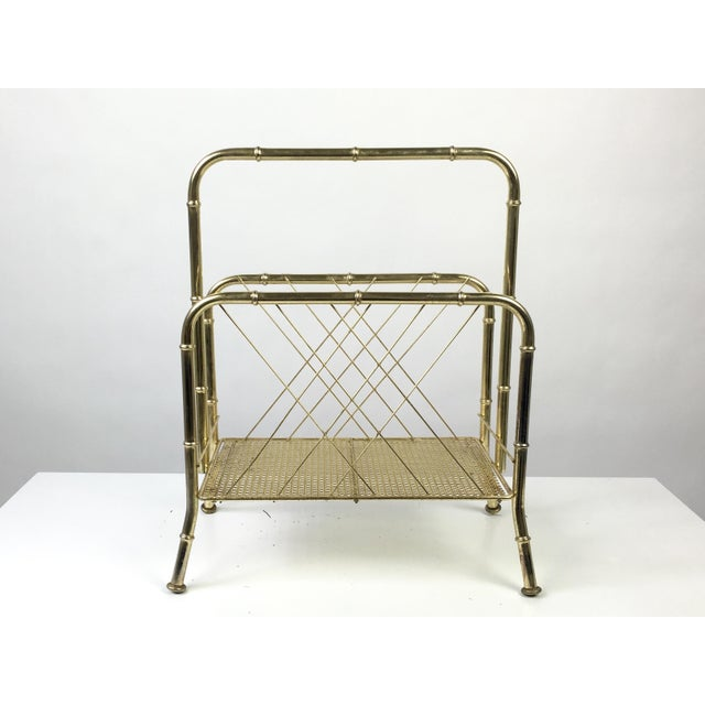 Hollywood Regency Hollywood Regency Faux Bamboo Brass Magazine Rack For Sale - Image 3 of 7