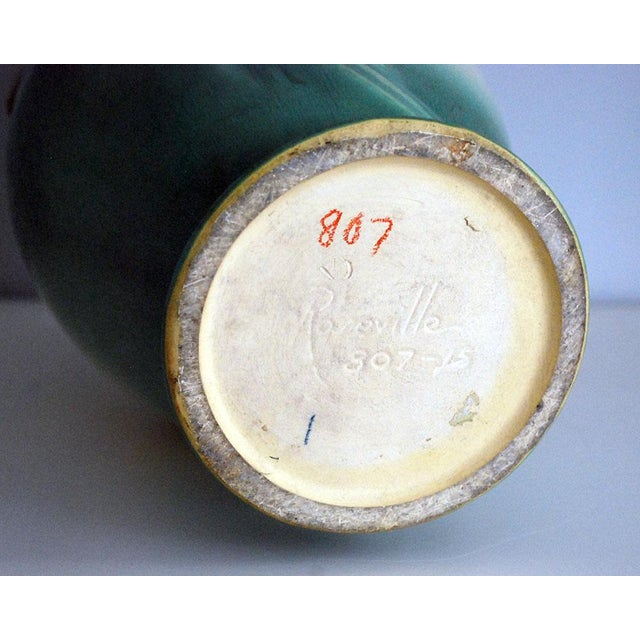 1930s Arts and Crafts Roseville Pottery Green Pinecone Floor Vase For Sale - Image 9 of 10