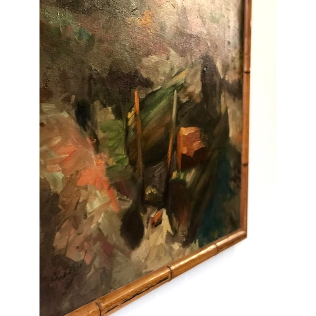 Vintage Impressionistic Campfire Painting For Sale - Image 4 of 9