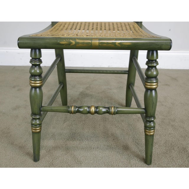 """Wood Hitchcock Green Painted """"Thomas Jefferson's Monticello"""" Cane Seat Side Chair (B) For Sale - Image 7 of 13"""