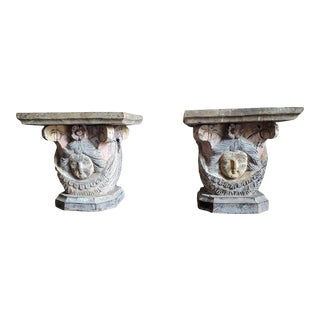 19th Century Architectural Carved & Painted Capitals - a Pair For Sale