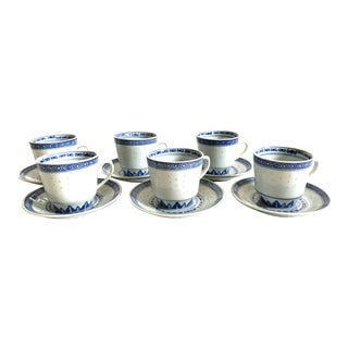 Vintage Chinese Indigo Tea + Coffee Cups and Saucers, Set of 6