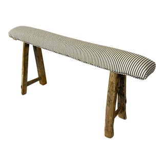 Antique Rustic Long Elm Bench W/ Cotton Ticking Upholstery For Sale