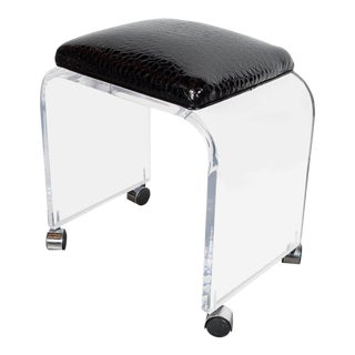 Mid-Century Modernist Waterfall Lucite Stool or Bench with Black Faux Crocodile For Sale