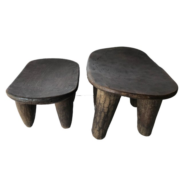African Senufo Wood Milk Stool I . Coast S/ 2 For Sale - Image 4 of 9
