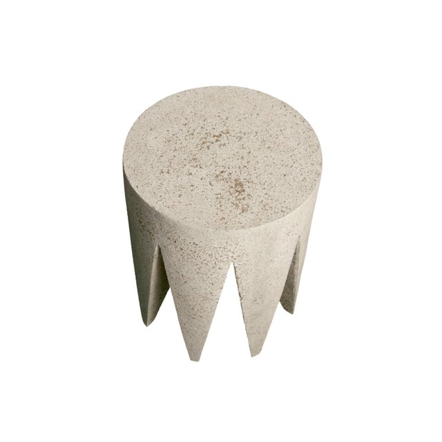 Contemporary Cast Resin 'King Me' Side Table, Aged Stone Finish by Zachary A. Design For Sale - Image 3 of 8