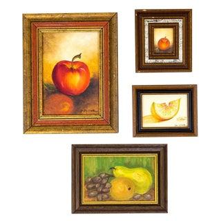 Fruit Still Life Oil Paintings, S/4 For Sale
