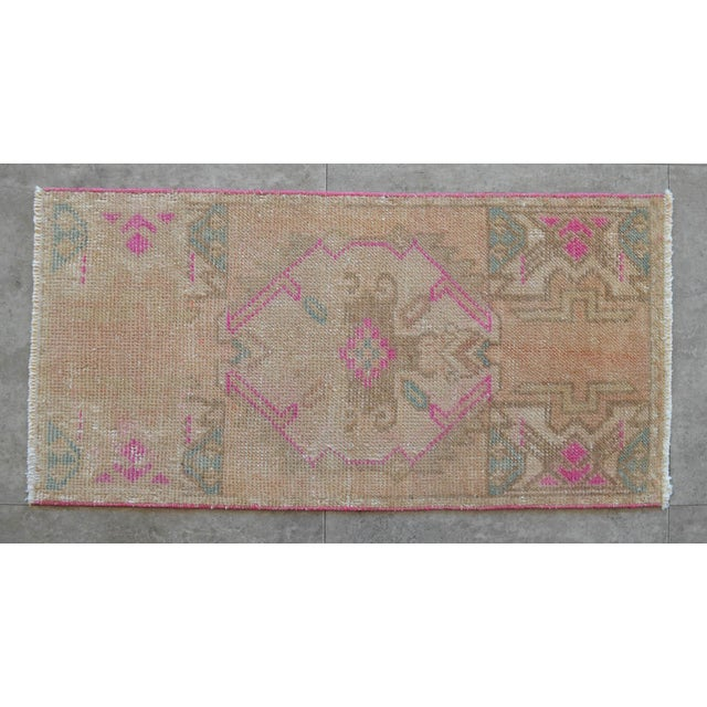 Hollywood Regency Distressed Low Pile Turkish Yastik Rug For Sale - Image 3 of 6