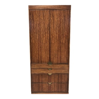 Walnut and Gold Gilted Armoire by Baker Furniture For Sale