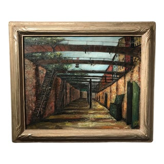 "1950s ""Factor's Walk, Savannah"" Oil Painting on Canvas by Pat Henderson For Sale"