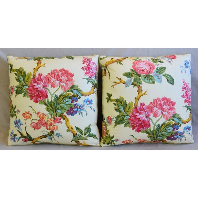 """Pair of custom-tailored pillows in French cotton chintz fabric from Brunschwig & Fils called """"Coligny"""" depicting a..."""