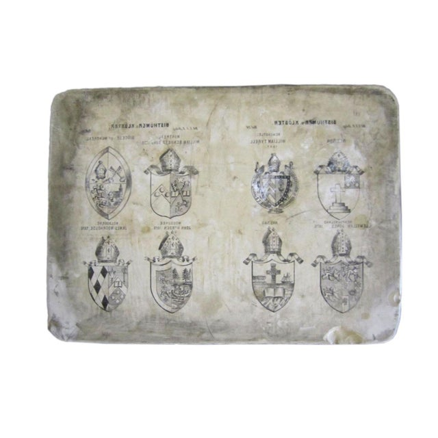A gorgeous set of two vintage stone printing blocks with various crests on the front and back. Rustic decor at its best!...