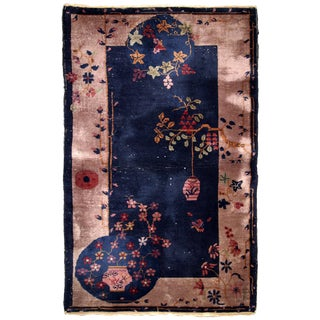 1920s Handmade Chinese Art Deco Rug 2.10' X 5.1' For Sale