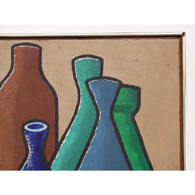 Bold colorful framed painting of assorted colorful bottles. Undated, but signed: L Glass