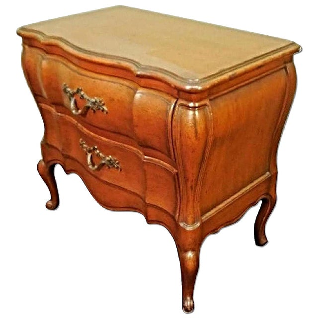 Express a distinct style and taste with this pair of elegant French Provincial two-drawer nightstands / chests that are in...