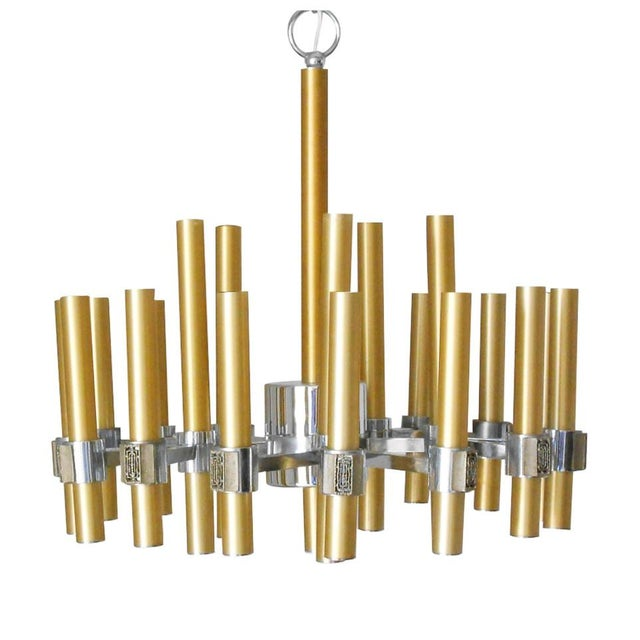 Brass Brass and Chrome Tubes Chandelier by Sciolari For Sale - Image 7 of 7