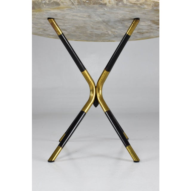 Brass 1950s Italian Vintage Round Marble Table by Cesare Lacca For Sale - Image 8 of 12