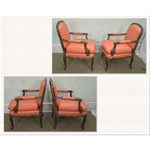 *STORE ITEM #: 18346 French Louis XV Style Custom Quality Pair of Fauteuils Arm Chairs AGE / ORIGIN: Approx. 40 years,...