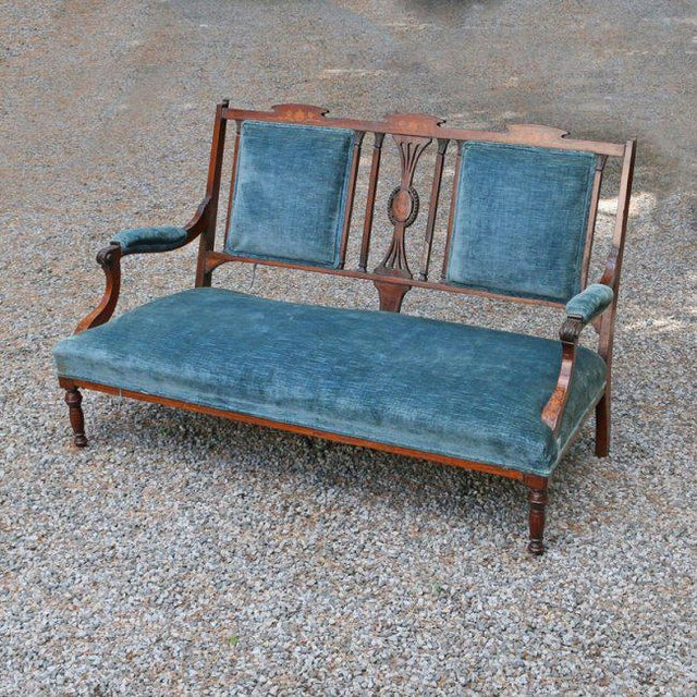 Blue Edwardian Inlaid Mahogany Settee With Blue Upholstery, Needs Restoration For Sale - Image 8 of 8