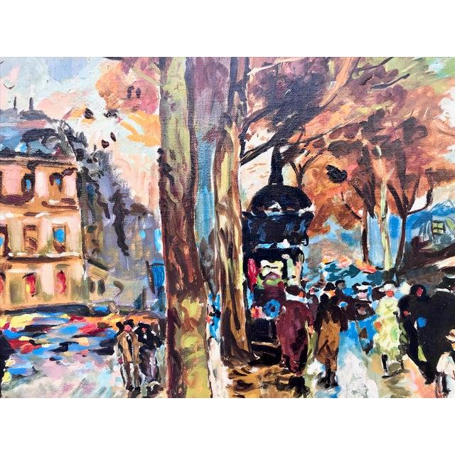 Canvas 1960s Vintage Bridge, Street, Seine River - France Oil Painting For Sale - Image 7 of 9