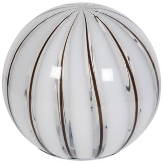 Italia 1970s Striped Glass Globe Table Lamp For Sale