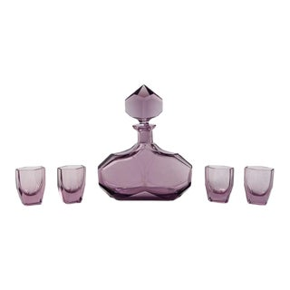 Large Amethyst Glass Art Deco Decanter and Glasses