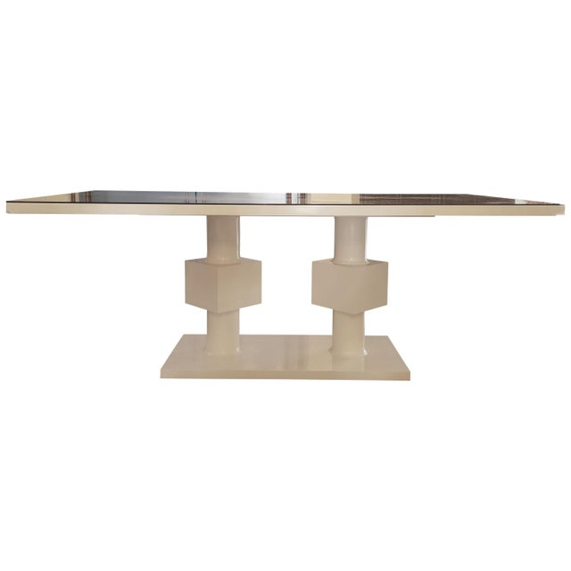 2010s Lacquered White Pedestal Table With Bronze Glass Top For Sale - Image 5 of 5