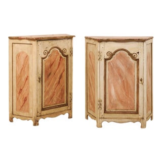 Early 20th Century Italian Painted Wood Cupboards - a Pair For Sale
