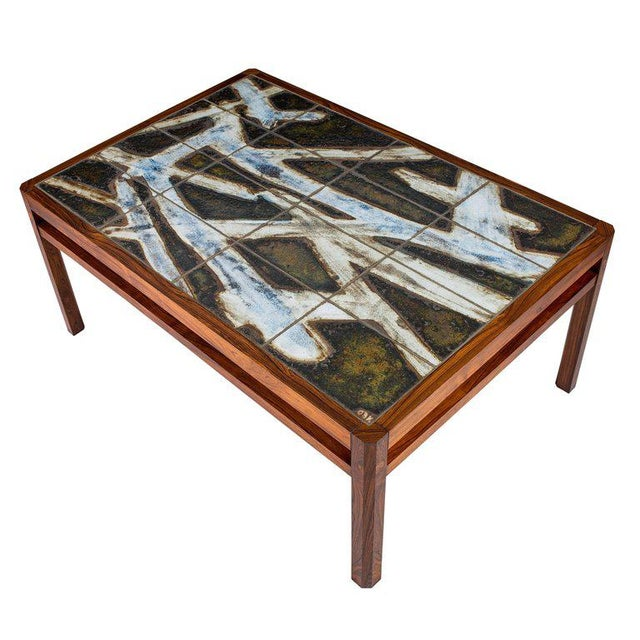 Danish Abstract Tile Coffee Table - Image 7 of 10