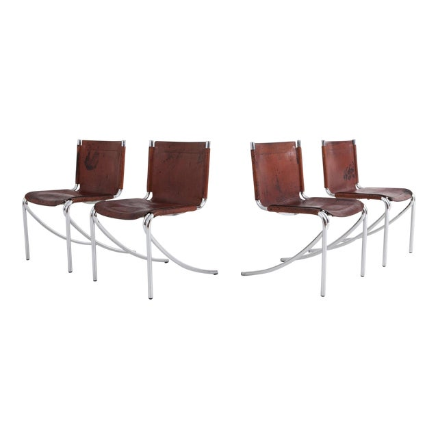 Giotto Stoppino Patinated Red Leather and Chrome Vintage Dining Chairs Model Jot for Acerbis For Sale