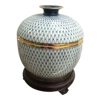 Asian Blue & White Ginger Jar With Lid & Stand For Sale