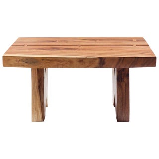 Live Edge Two Piece Acacia Wood Coffee Table For Sale