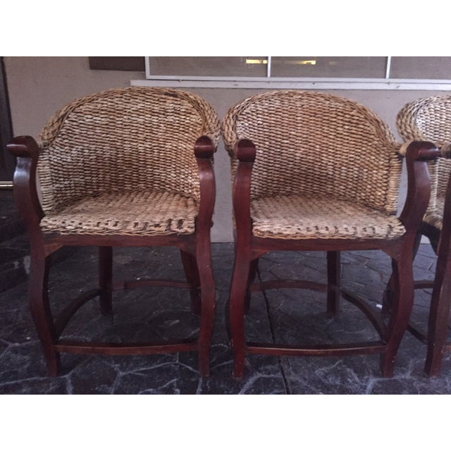 Vintage Banana Wicker Counter Stools - Set of 4 - Image 5 of 6