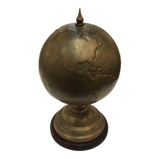Vintage Brass Repousse Globe of the World For Sale